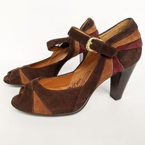 Sofft suede colorblock peep toe ankle strap heels